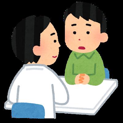 透析患者さんが医師に相談する風景